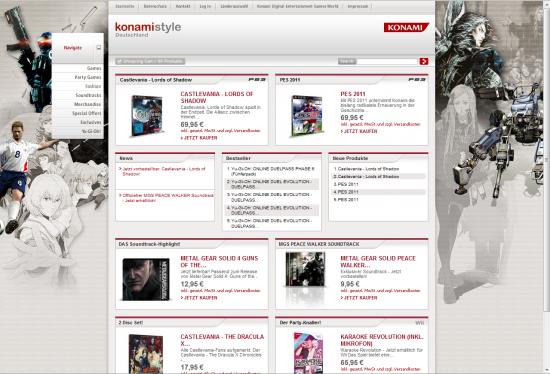 Startseite des deutschen Konamistyle-Online-Shops